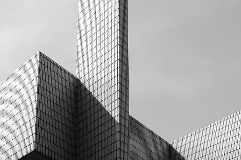modern building facade with geometric shapes